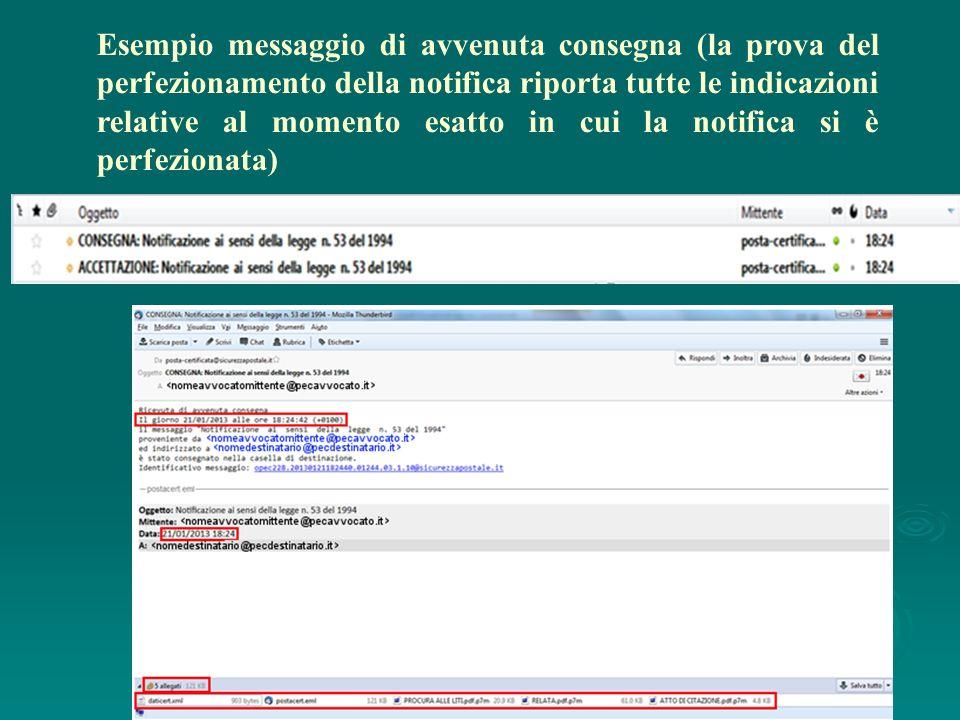 Esempio messaggio di avvenuta consegna (la prova del perfezionamento della notifica riporta tutte le indicazioni relative al momento esatto in cui la