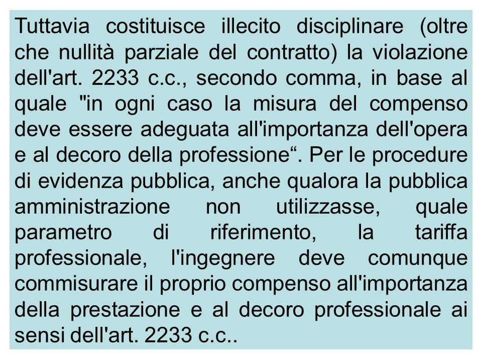 Tuttavia costituisce illecito disciplinare (oltre che nullità parziale del contratto) la violazione dell art.