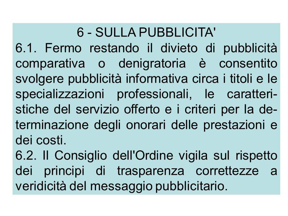 6 - SULLA PUBBLICITA 6.1.