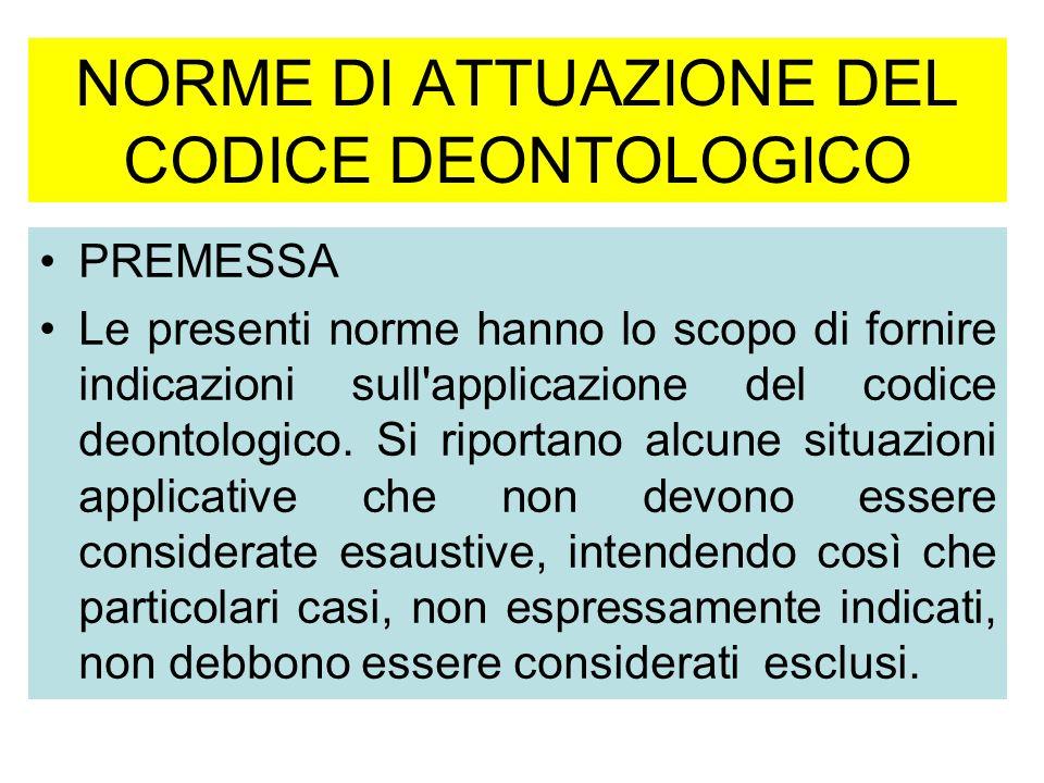 NORME DI ATTUAZIONE DEL CODICE DEONTOLOGICO PREMESSA Le presenti norme hanno lo scopo di fornire indicazioni sull applicazione del codice deontologico.