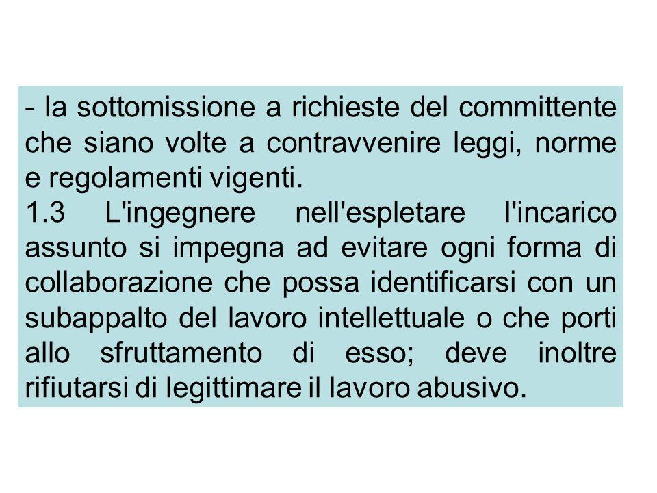 - la sottomissione a richieste del committente che siano volte a contravvenire leggi, norme e regolamenti vigenti.