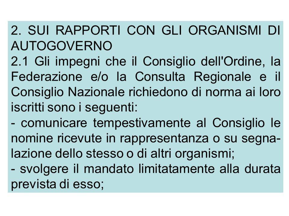 2. SUI RAPPORTI CON GLI ORGANISMI DI AUTOGOVERNO 2.1 Gli impegni che il Consiglio dell'Ordine, la Federazione e/o la Consulta Regionale e il Consiglio