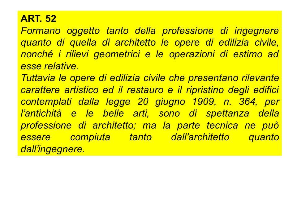 ART. 52 Formano oggetto tanto della professione di ingegnere quanto di quella di architetto le opere di edilizia civile, nonché i rilievi geometrici e