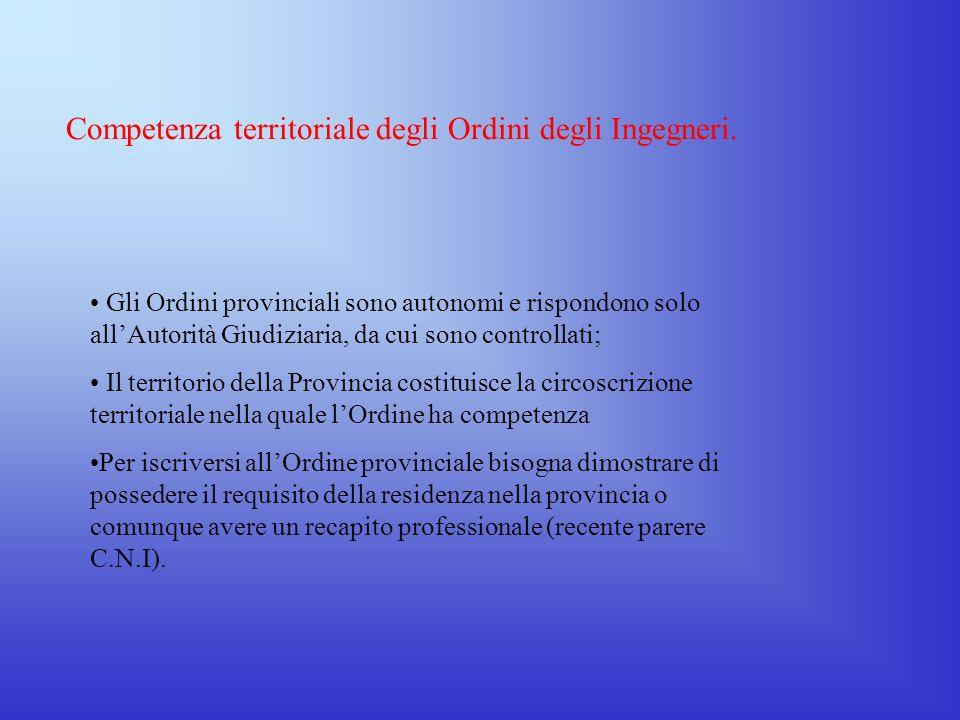 Compiti del Consiglio Nazionale Ingegneri Magistratura di appello contro tutte le decisioni dei Consigli degli ordini in sede giurisdizionali; Success