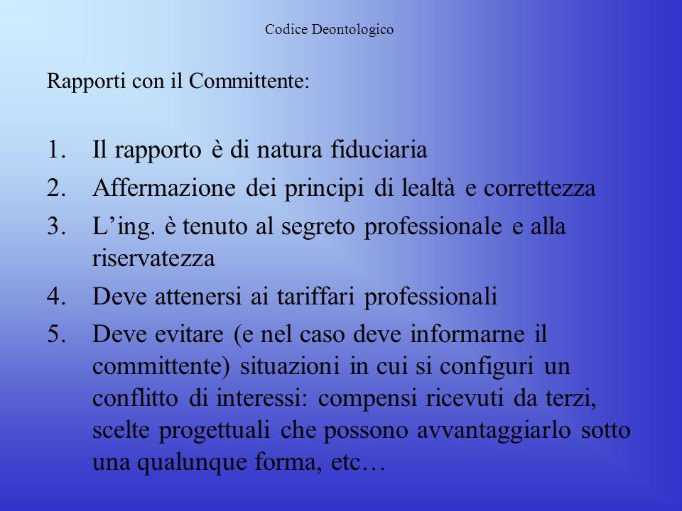 Codice Deontologico Subentro di incarico: 1.Lingegnere può subentrare ad altro professionista solo dopo laccertamento che la committenza abbia comunic