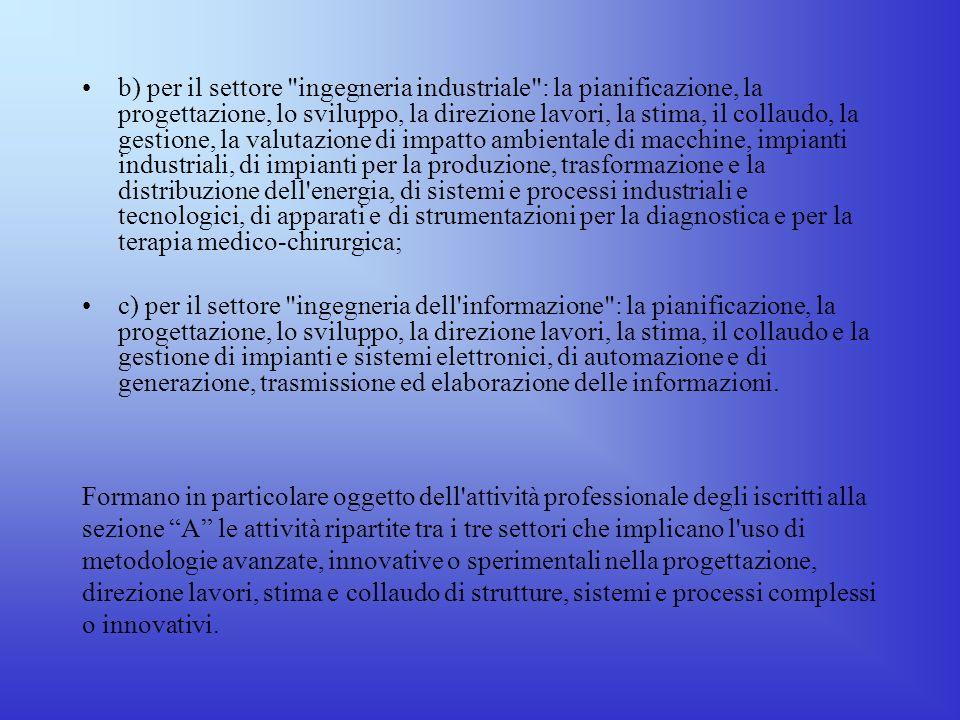Attività professionali secondo lart. 46 del D.P.R. 5 giugno 2001, n. 328 Sezione A a) per il settore
