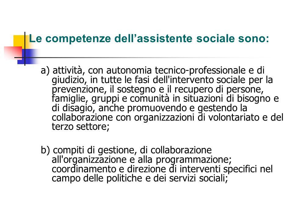 Le competenze dellassistente sociale sono: a) attività, con autonomia tecnico-professionale e di giudizio, in tutte le fasi dell'intervento sociale pe