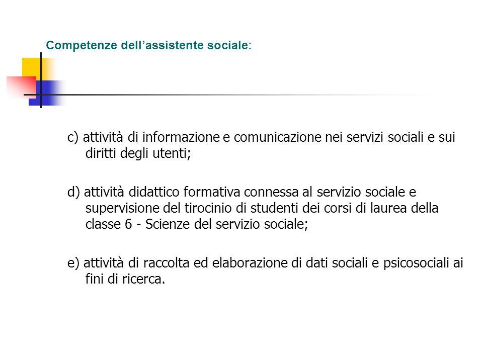 Competenze dellassistente sociale: c) attività di informazione e comunicazione nei servizi sociali e sui diritti degli utenti; d) attività didattico f