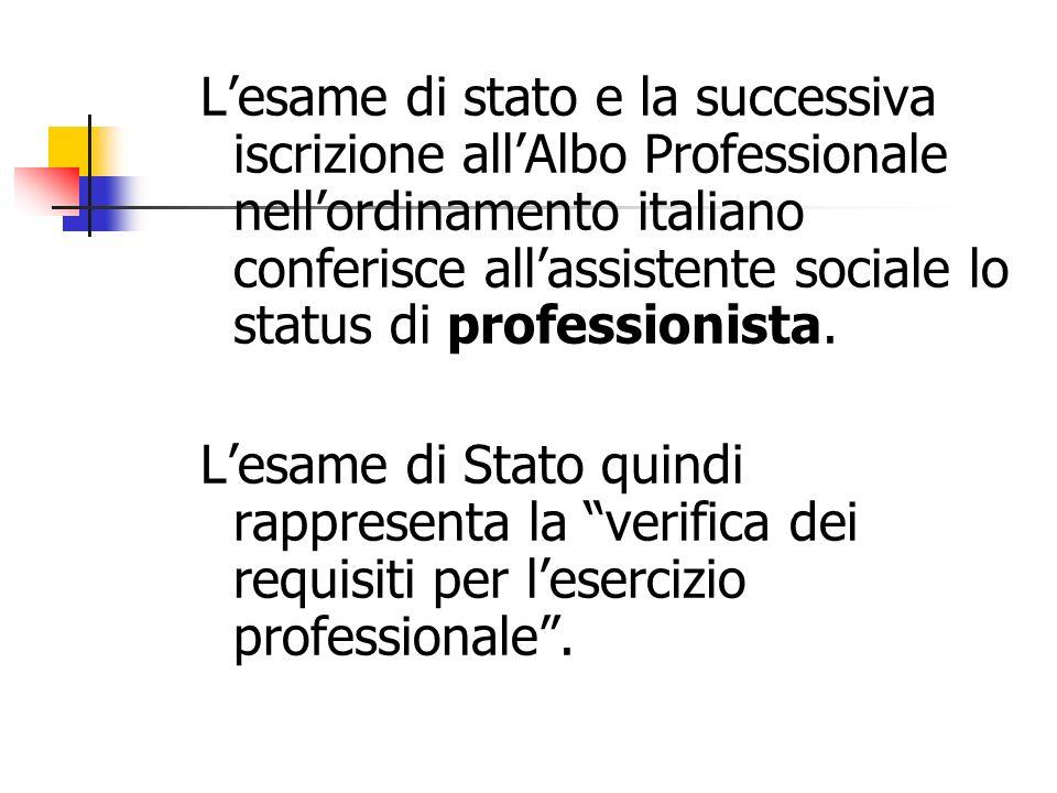 Lesame di stato e la successiva iscrizione allAlbo Professionale nellordinamento italiano conferisce allassistente sociale lo status di professionista