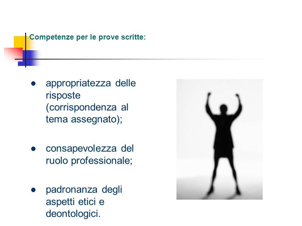Competenze per le prove scritte: appropriatezza delle risposte (corrispondenza al tema assegnato); consapevolezza del ruolo professionale; padronanza