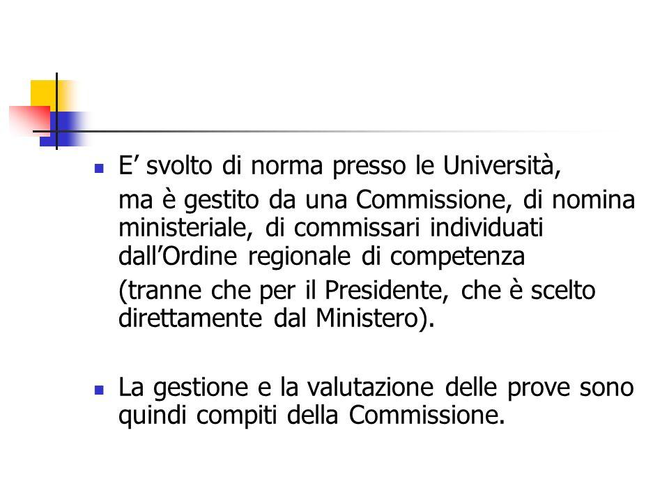 E svolto di norma presso le Università, ma è gestito da una Commissione, di nomina ministeriale, di commissari individuati dallOrdine regionale di com