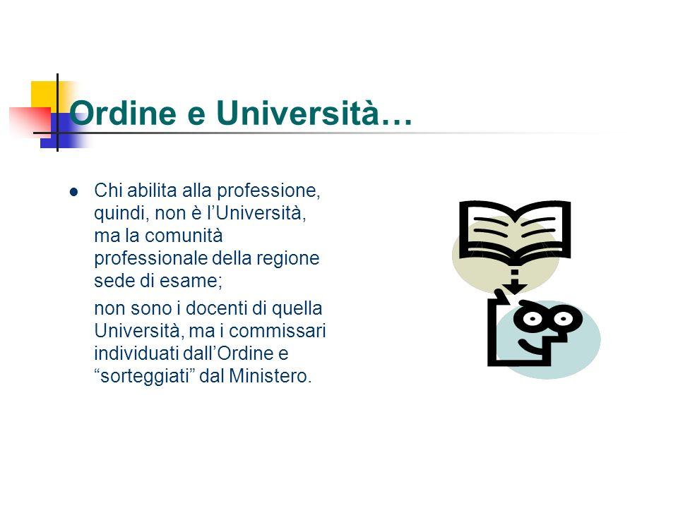 Ordine e Università… Chi abilita alla professione, quindi, non è lUniversità, ma la comunità professionale della regione sede di esame; non sono i doc