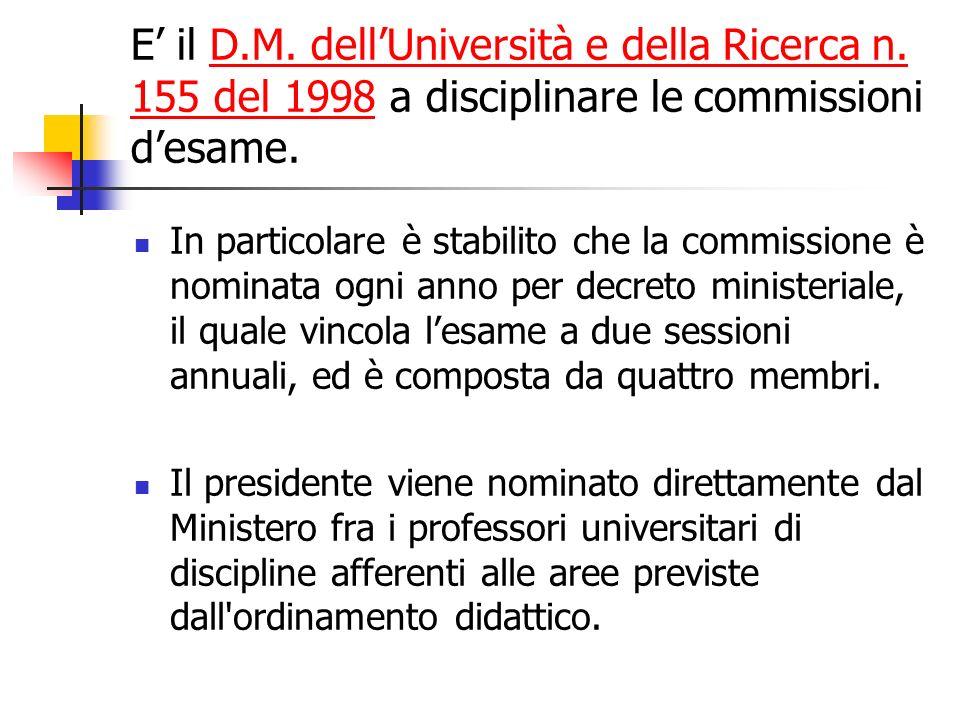 E il D.M. dellUniversità e della Ricerca n. 155 del 1998 a disciplinare le commissioni desame.D.M. dellUniversità e della Ricerca n. 155 del 1998 In p