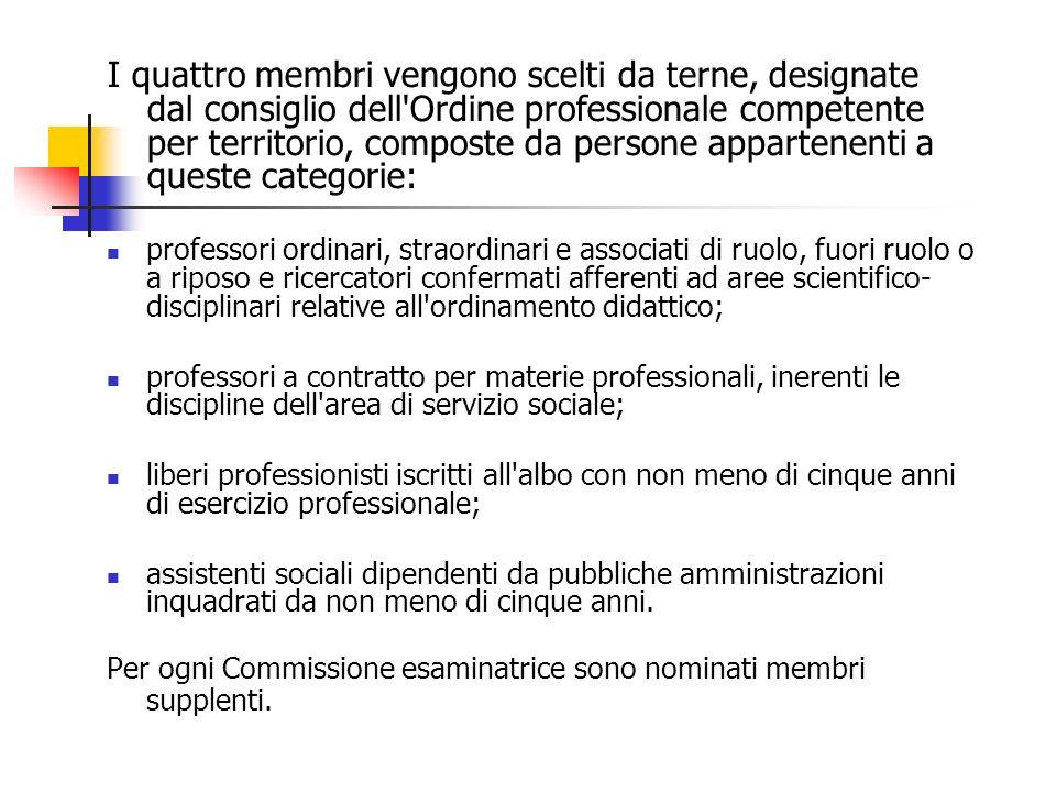 Le prove per lesame di Stato per assistente sociale (sezione B) sono quattro e sono quelle previste dallart.