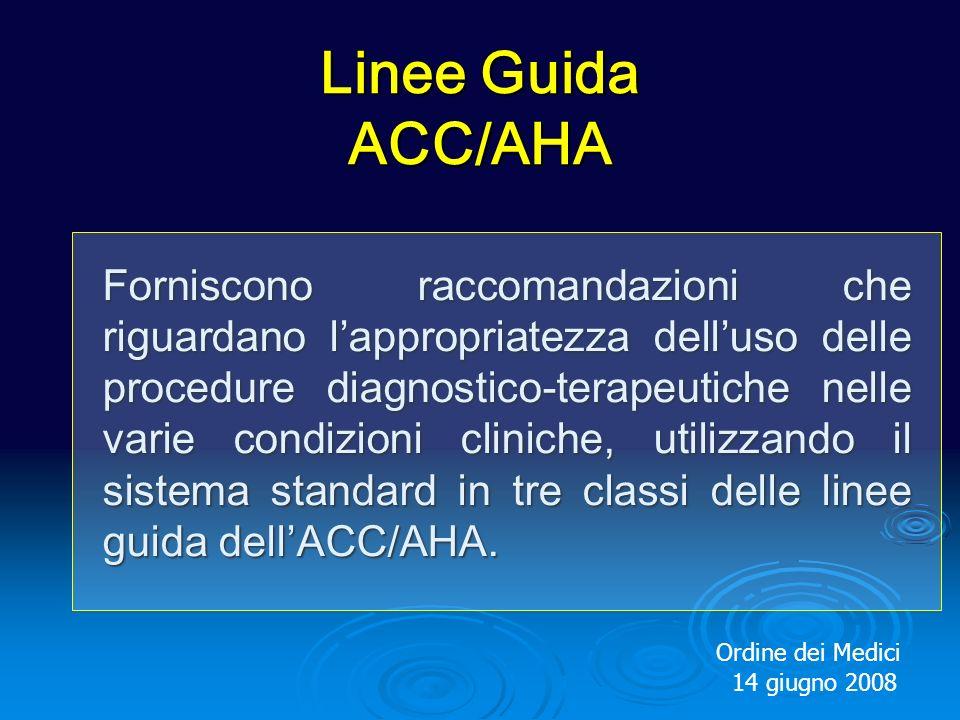 Linee Guida ACC/AHA Forniscono raccomandazioni che riguardano lappropriatezza delluso delle procedure diagnostico-terapeutiche nelle varie condizioni cliniche, utilizzando il sistema standard in tre classi delle linee guida dellACC/AHA.