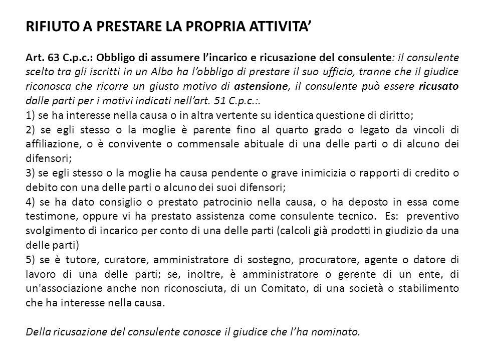 RIFIUTO A PRESTARE LA PROPRIA ATTIVITA Art. 63 C.p.c.: Obbligo di assumere lincarico e ricusazione del consulente: il consulente scelto tra gli iscrit