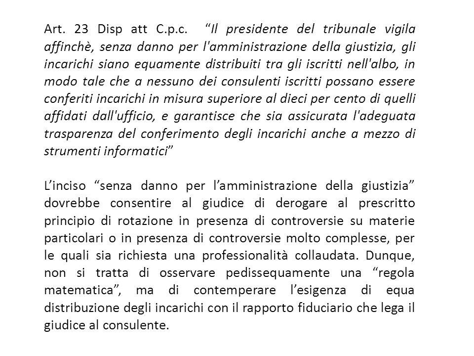 Art. 23 Disp att C.p.c. Il presidente del tribunale vigila affinchè, senza danno per l'amministrazione della giustizia, gli incarichi siano equamente