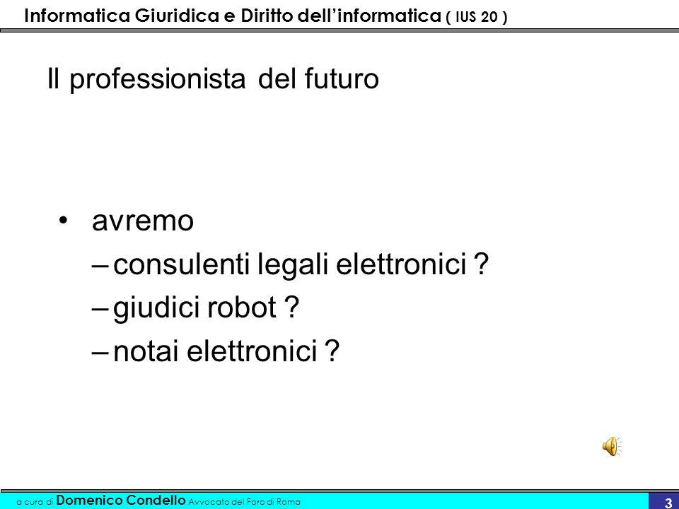 Informatica Giuridica e Diritto dellinformatica ( IUS 20 ) a cura di Domenico Condello Avvocato del Foro di Roma 3 Il professionista del futuro avremo –consulenti legali elettronici .