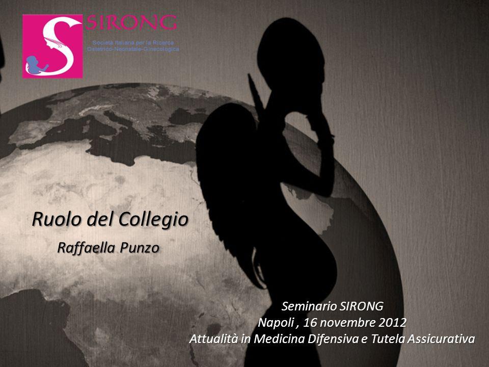 Raffaella Punzo Ruolo del Collegio Seminario SIRONG Napoli, 16 novembre 2012 Attualità in Medicina Difensiva e Tutela Assicurativa