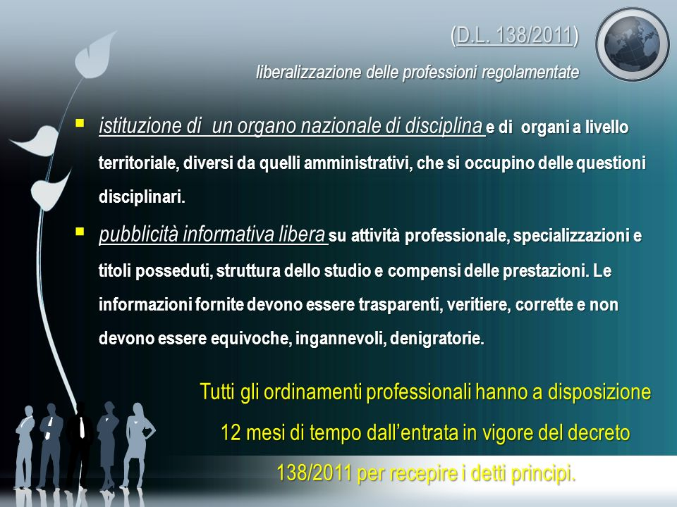 (D.L. 138/2011) liberalizzazione delle professioni regolamentate D.L. 138/2011D.L. 138/2011 istituzione di un organo nazionale di disciplina e di orga