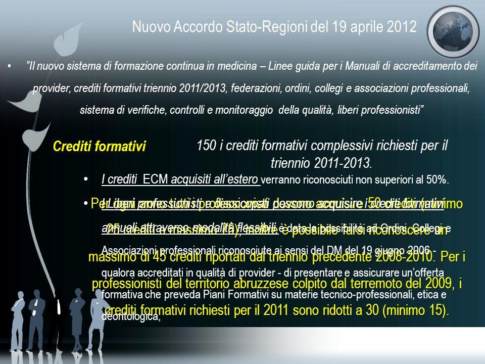 Nuovo Accordo Stato-Regioni del 19 aprile 2012 Il nuovo sistema di formazione continua in medicina – Linee guida per i Manuali di accreditamento dei p