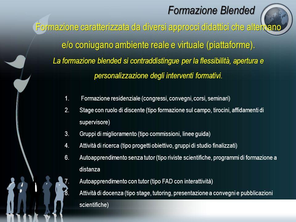Formazione Blended Formazione caratterizzata da diversi approcci didattici che alternano e/o coniugano ambiente reale e virtuale (piattaforme). La for