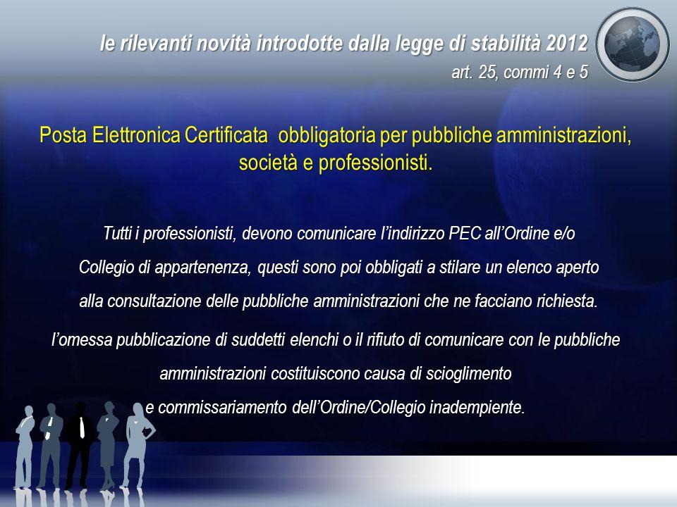 le rilevanti novità introdotte dalla legge di stabilità 2012 art. 25, commi 4 e 5 Posta Elettronica Certificata obbligatoria per pubbliche amministraz