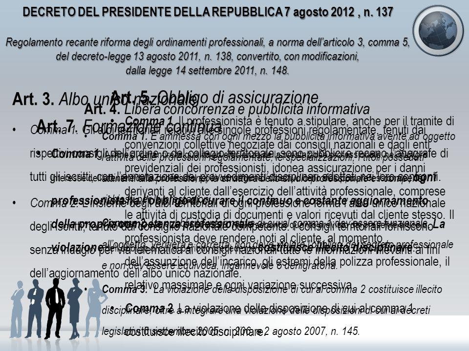 DECRETO DEL PRESIDENTE DELLA REPUBBLICA 7 agosto 2012, n. 137 Regolamento recante riforma degli ordinamenti professionali, a norma dellarticolo 3, com