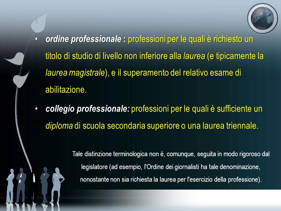 ordine professionale : professioni per le quali è richiesto un titolo di studio di livello non inferiore alla laurea (e tipicamente la laurea magistrale ), e il superamento del relativo esame di abilitazione.