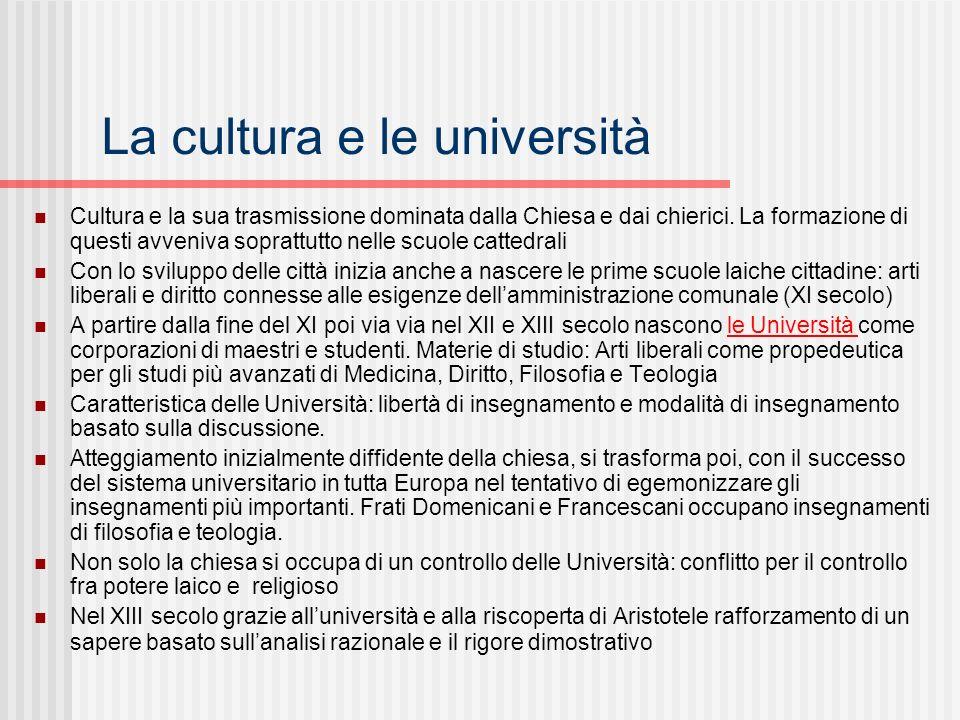 La cultura e le università Cultura e la sua trasmissione dominata dalla Chiesa e dai chierici. La formazione di questi avveniva soprattutto nelle scuo