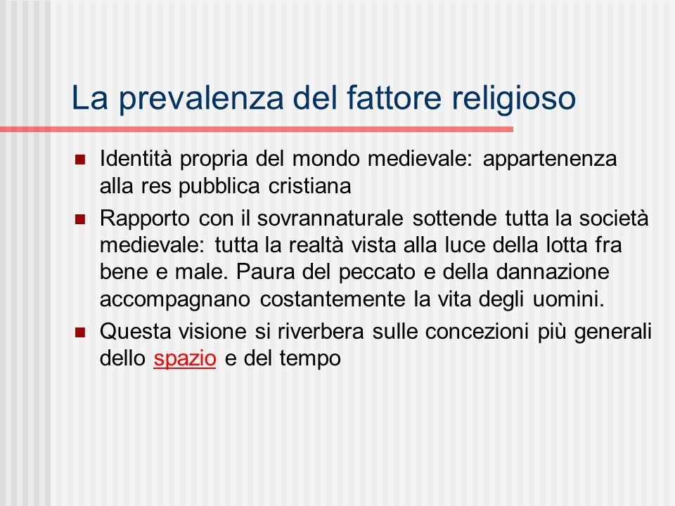 La prevalenza del fattore religioso Identità propria del mondo medievale: appartenenza alla res pubblica cristiana Rapporto con il sovrannaturale sott
