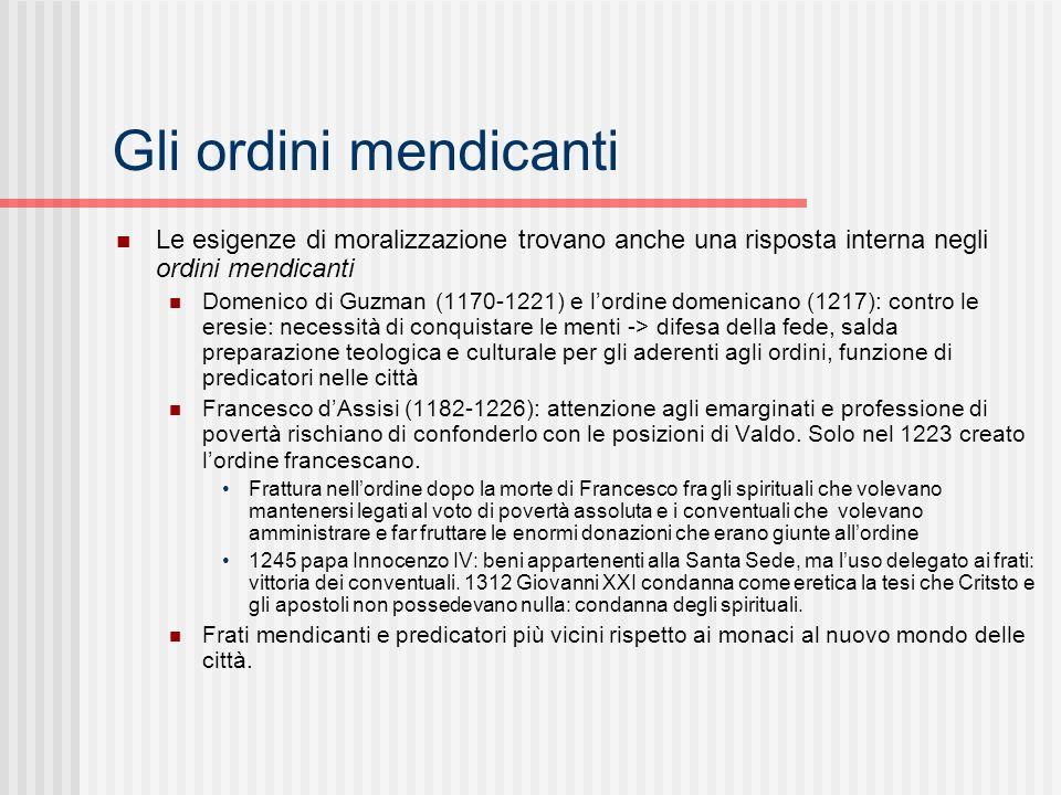 Gli ordini mendicanti Le esigenze di moralizzazione trovano anche una risposta interna negli ordini mendicanti Domenico di Guzman (1170-1221) e lordin