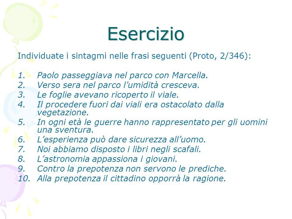 Esercizio Individuate i sintagmi nelle frasi seguenti (Proto, 2/346): 1.Paolo passeggiava nel parco con Marcella. 2.Verso sera nel parco lumidità cres