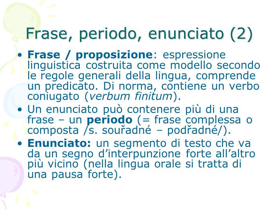 Frase, periodo, enunciato (2) Frase / proposizione: espressione linguistica costruita come modello secondo le regole generali della lingua, comprende