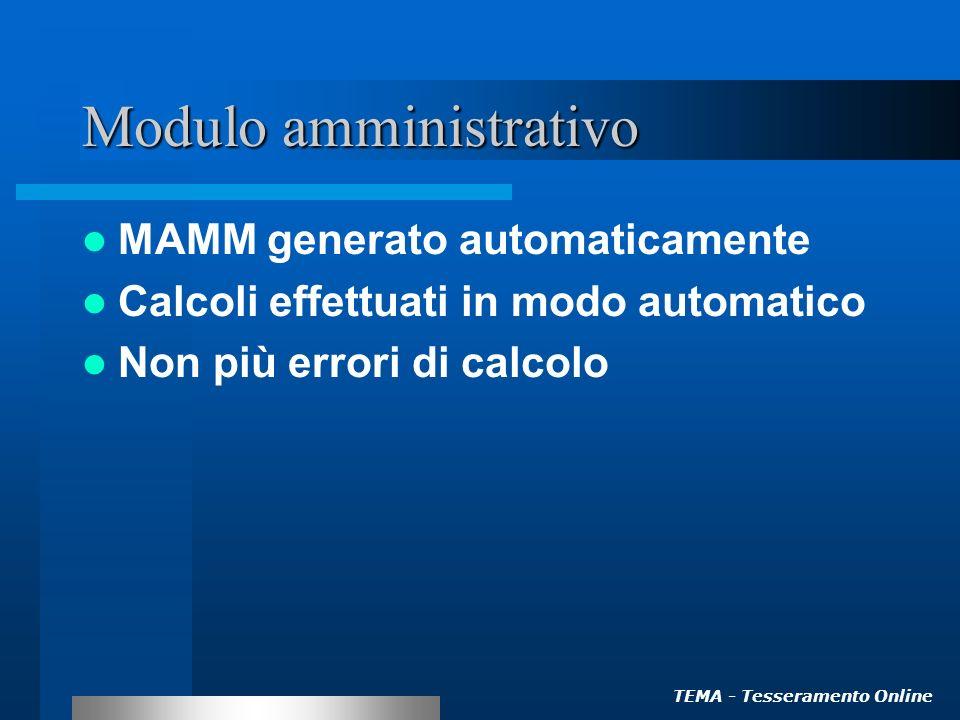 TEMA - Tesseramento Online Modulo amministrativo MAMM generato automaticamente Calcoli effettuati in modo automatico Non più errori di calcolo