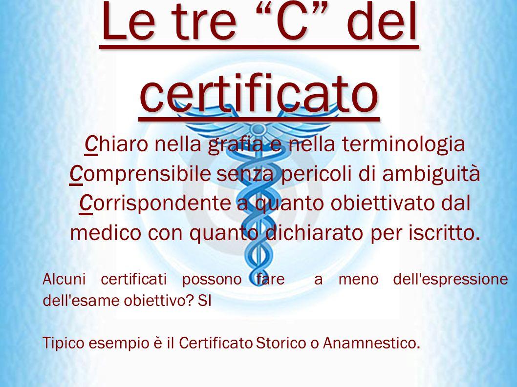 Le tre C del certificato Chiaro nella grafia e nella terminologia Comprensibile senza pericoli di ambiguità Corrispondente a quanto obiettivato dal me
