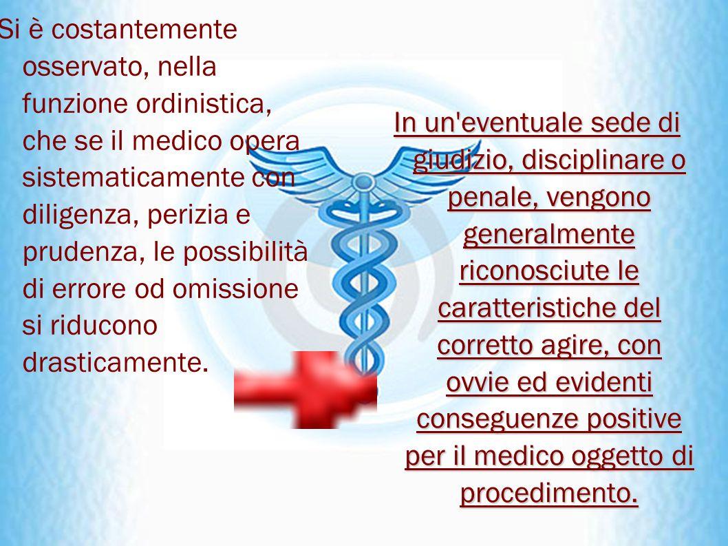 Si è costantemente osservato, nella funzione ordinistica, che se il medico opera sistematicamente con diligenza, perizia e prudenza, le possibilità di