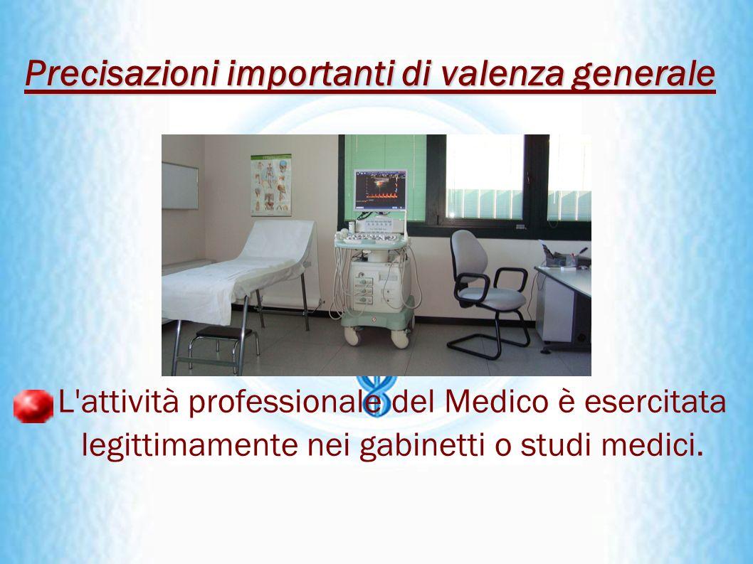L'attività professionale del Medico è esercitata legittimamente nei gabinetti o studi medici. Precisazioni importanti di valenza generale