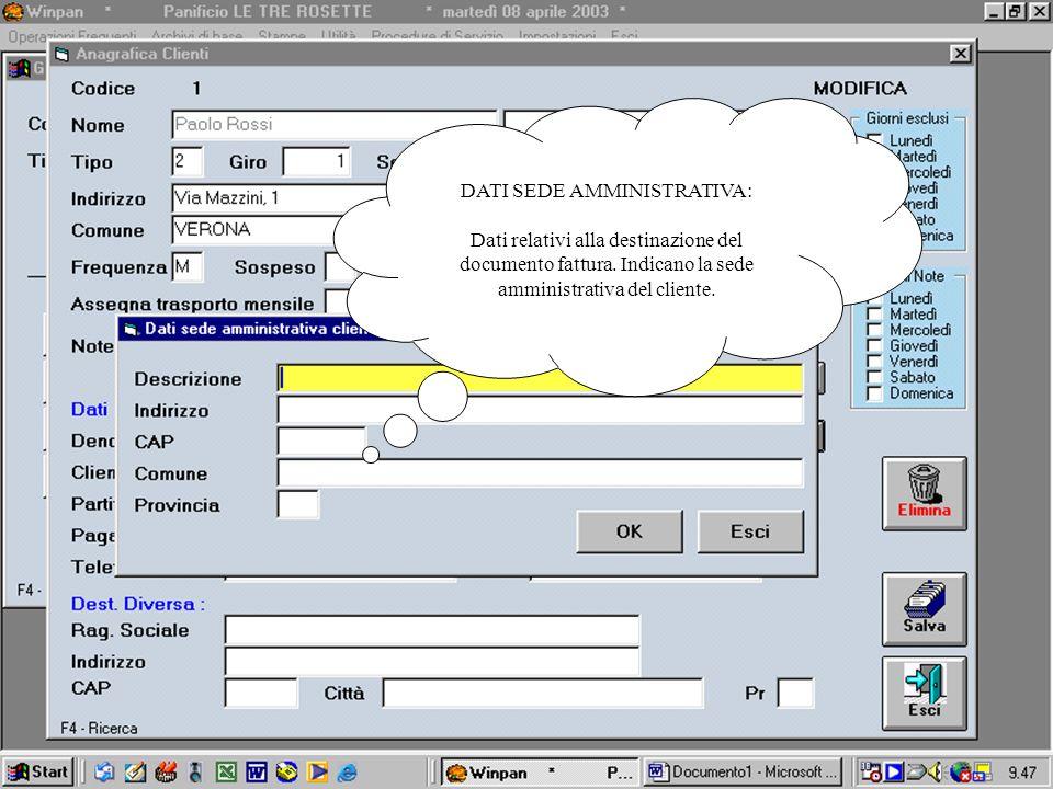 DATI SEDE AMMINISTRATIVA: Dati relativi alla destinazione del documento fattura. Indicano la sede amministrativa del cliente.