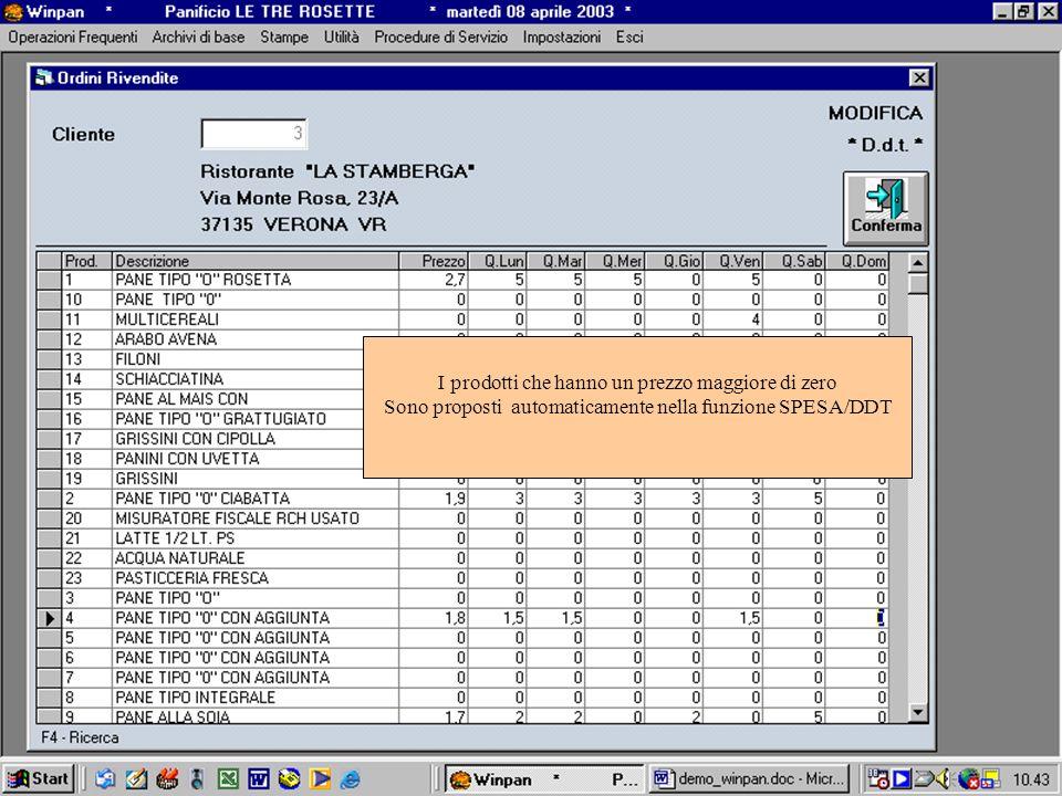 I prodotti che hanno un prezzo maggiore di zero Sono proposti automaticamente nella funzione SPESA/DDT