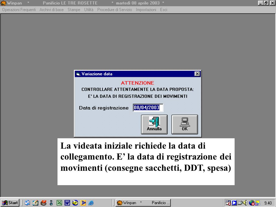 La videata iniziale richiede la data di collegamento. E la data di registrazione dei movimenti (consegne sacchetti, DDT, spesa)