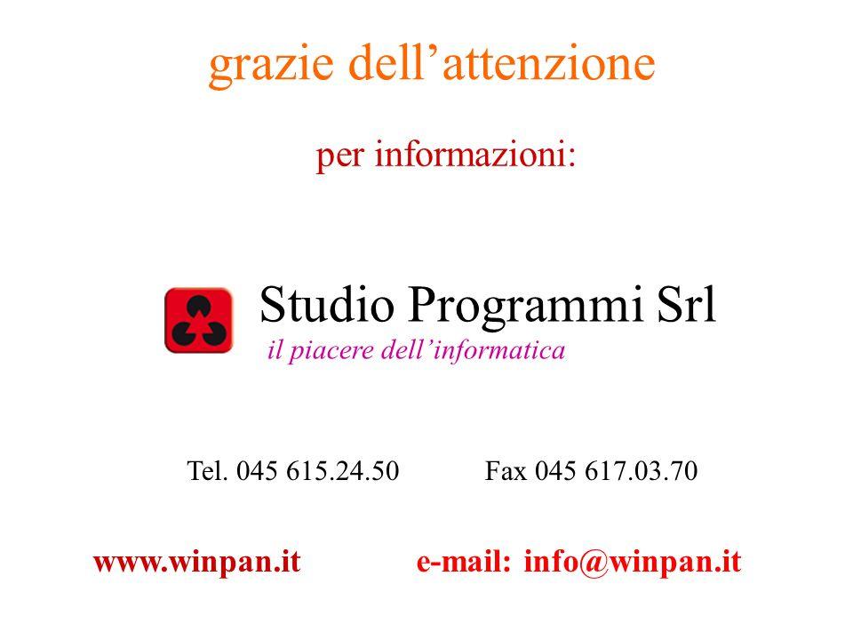 grazie dellattenzione per informazioni: Studio Programmi Srl il piacere dellinformatica Tel. 045 615.24.50Fax 045 617.03.70 www.winpan.ite-mail: info@