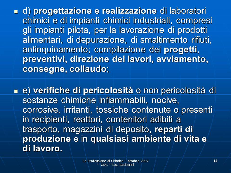 La Professione di Chimico - ottobre 2007 - CNC - Tau, Becherini 13 2.