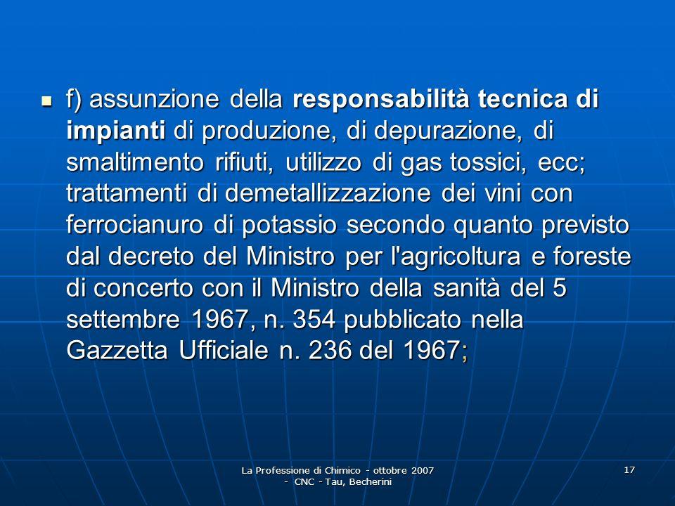 La Professione di Chimico - ottobre 2007 - CNC - Tau, Becherini 18 g) consulenze e pareri in materia di prevenzione incendi; conseguimento delle certificazioni ed autorizzazioni di cui alla legge 7 dicembre 1984, n.