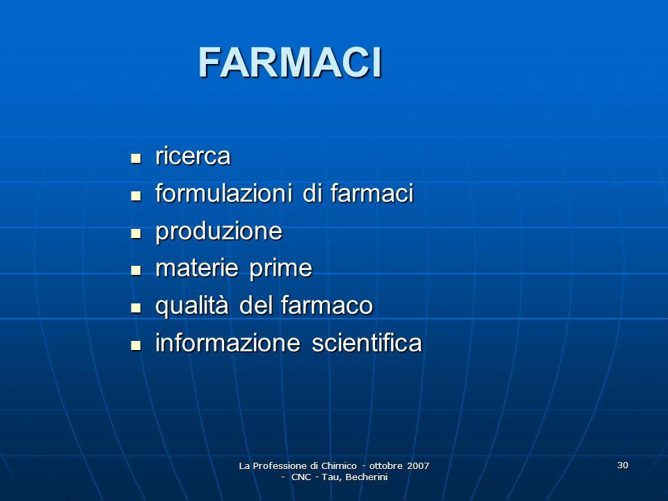 La Professione di Chimico - ottobre 2007 - CNC - Tau, Becherini 31 COSMETICI direzione direzione formulazione formulazione produzione produzione