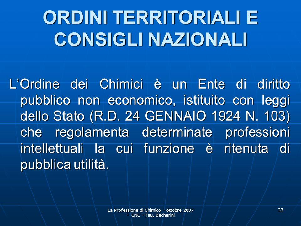 La Professione di Chimico - ottobre 2007 - CNC - Tau, Becherini 34 I quarantuno Ordini Territoriali dei Chimici sono costituiti a livello Provinciale, Interprovinciale, Regionale ed Interregionale.