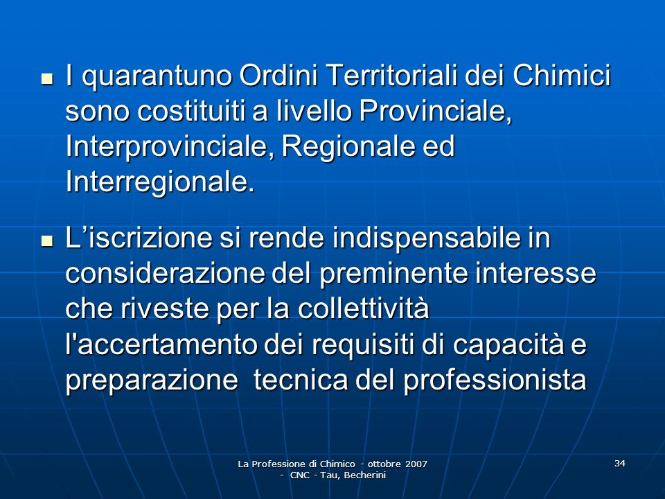 La Professione di Chimico - ottobre 2007 - CNC - Tau, Becherini 35 R.D.