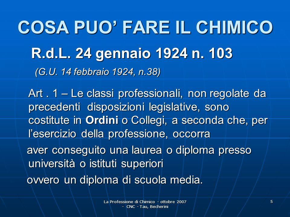 La Professione di Chimico - ottobre 2007 - CNC - Tau, Becherini 6 R.D.