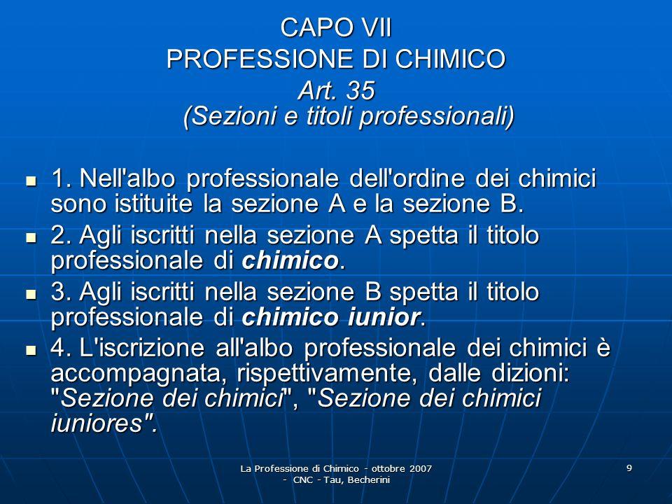 La Professione di Chimico - ottobre 2007 - CNC - Tau, Becherini 10 Art.