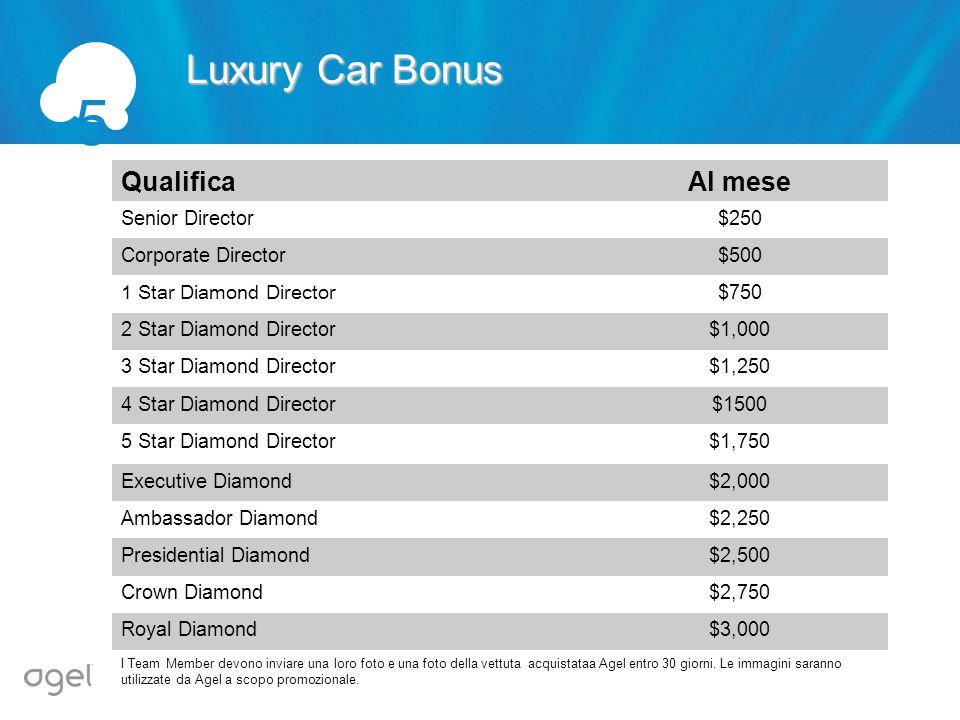 Luxury Car Bonus 5 QualificaAl mese Senior Director$250 Corporate Director$500 1 Star Diamond Director$750 2 Star Diamond Director$1,000 3 Star Diamon